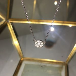 Jewel encrusted small circle necklace